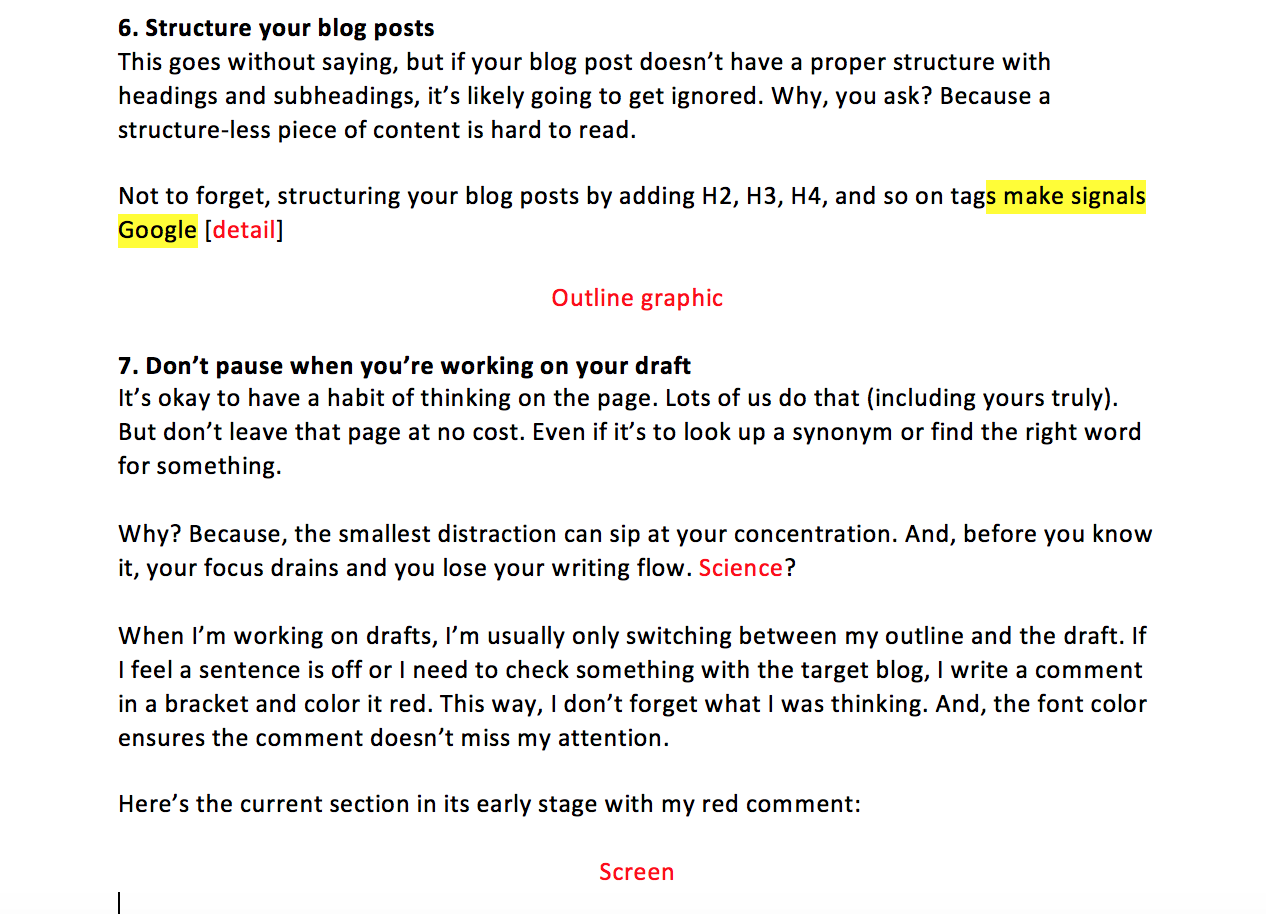 Example of how I write my first drafts with placeholder text.