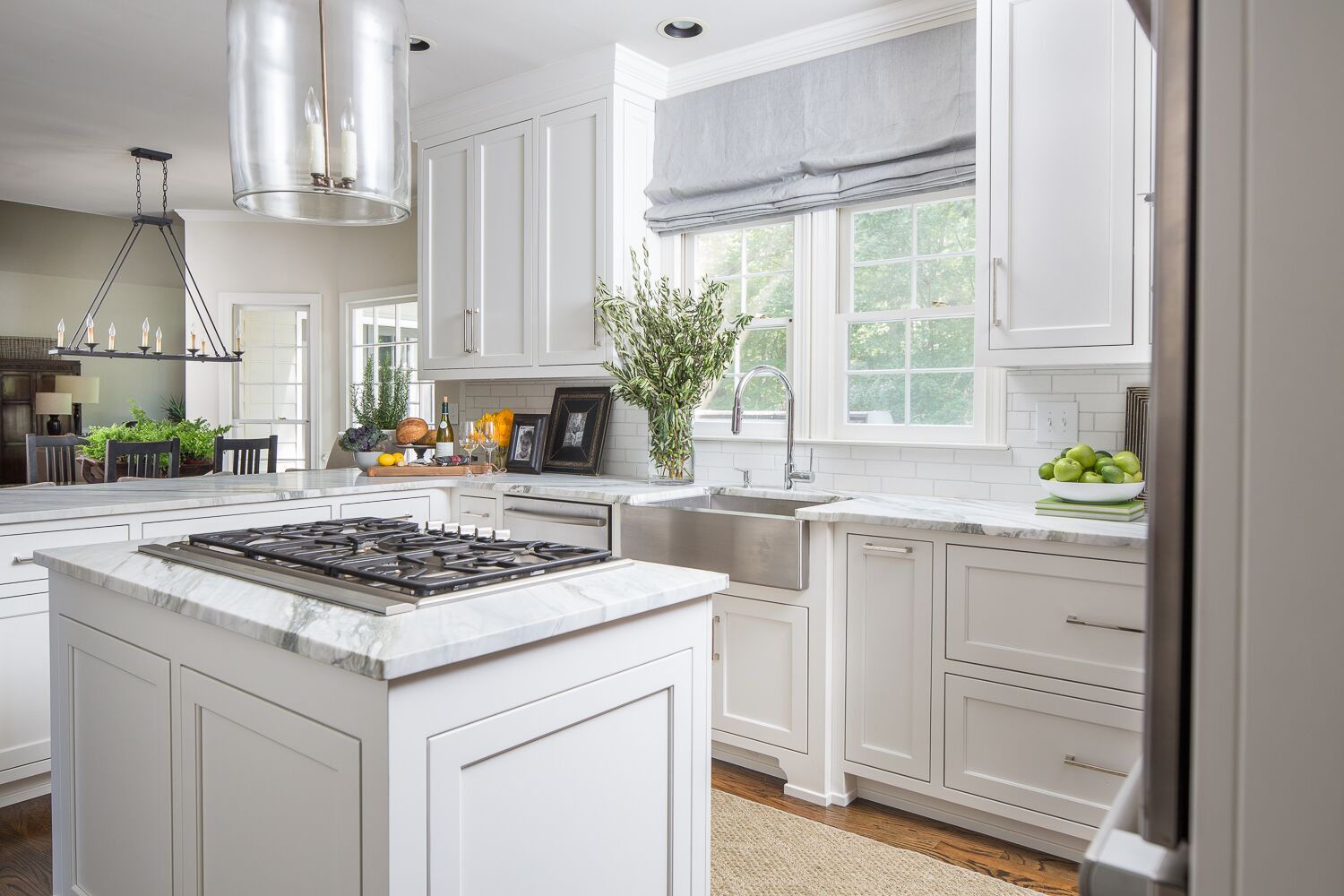 timeless kitchen buckhead tara fust design marble counters apron sink roman shade
