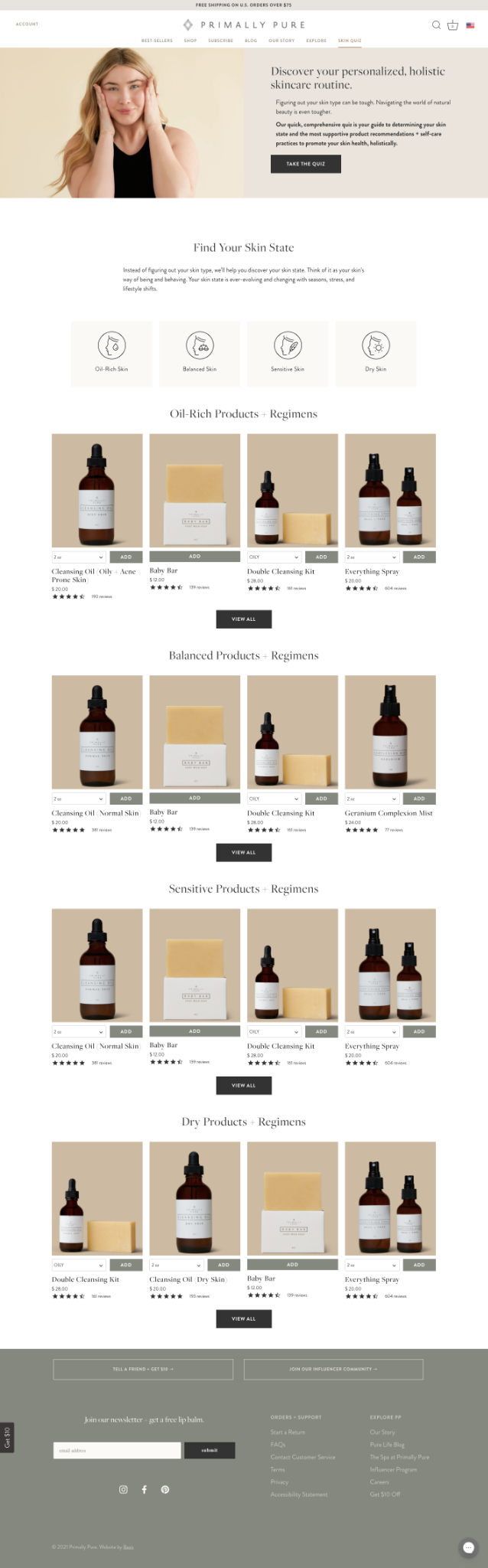 full landing page with shoppable products