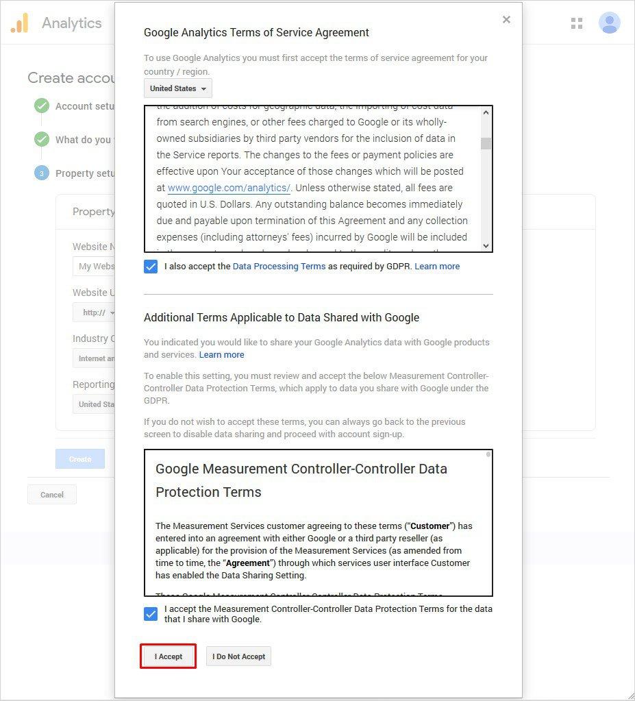 cửa sổ bật lên hiển thị Thỏa thuận điều khoản dịch vụ