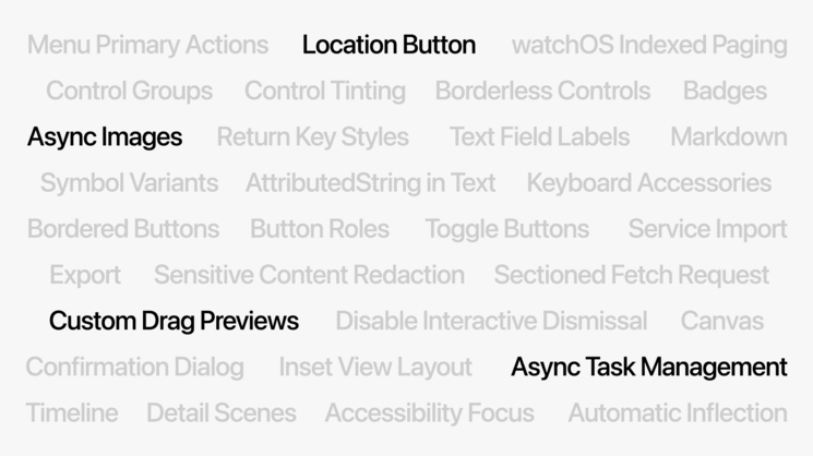 New features in SwiftUI. Image Credits: Platforms State of the Union WWDC'21