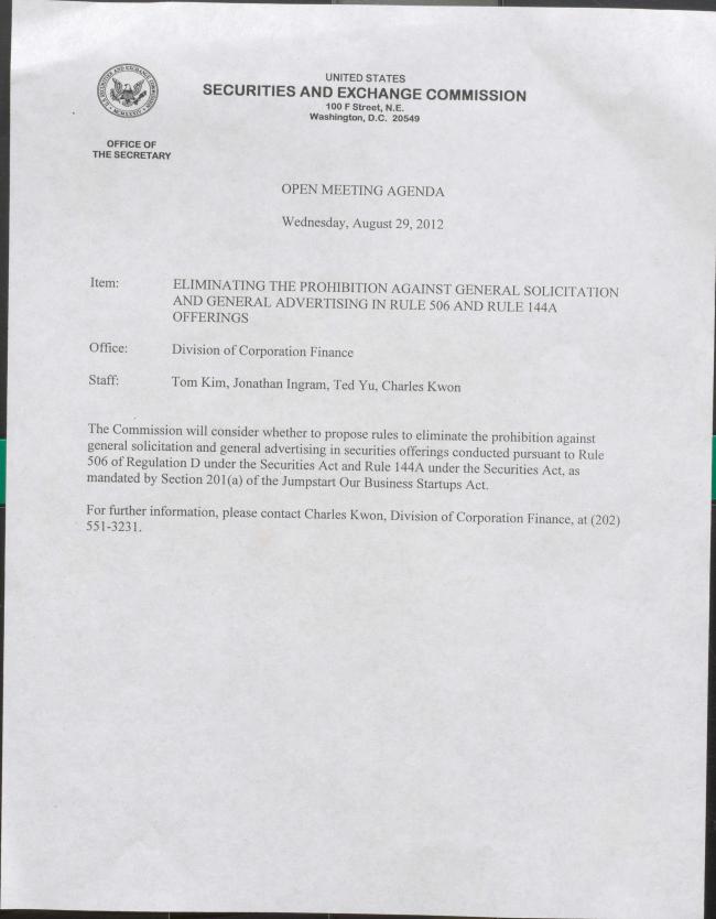 SEC Open mtg agenda