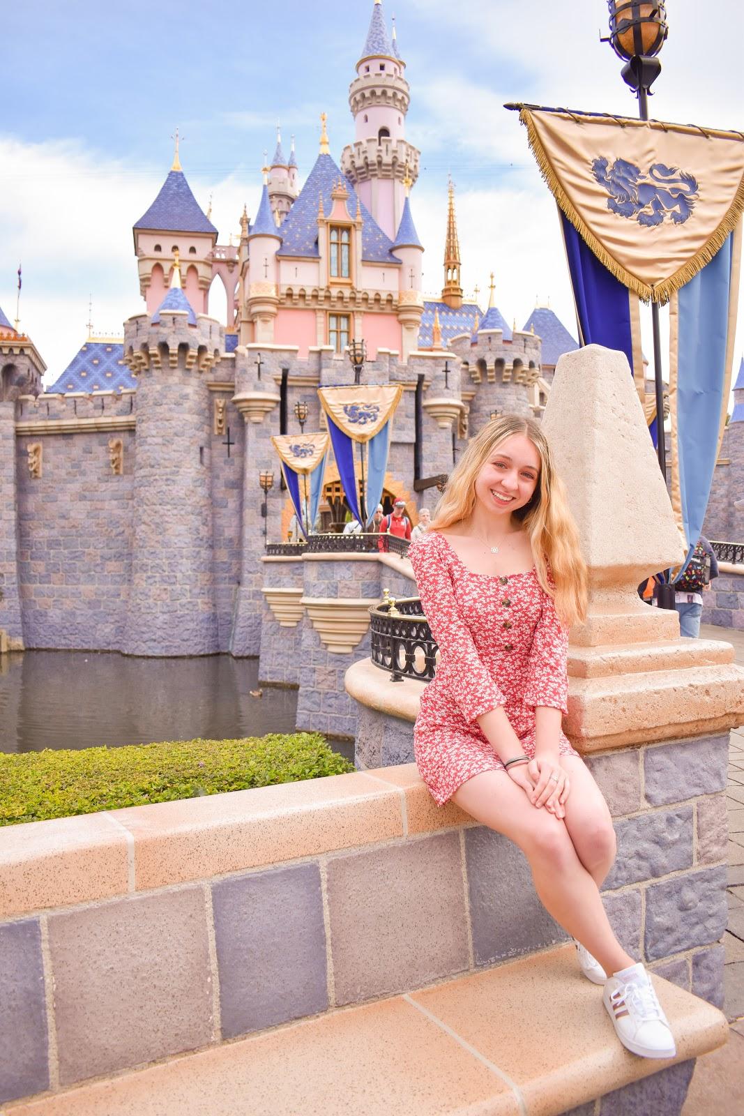 Toni with the Disneyland sleeping beauty castle