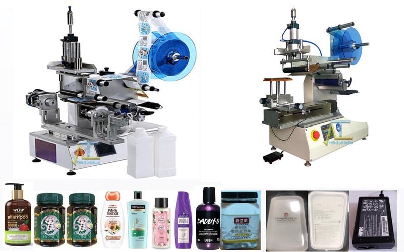Máy dán nhãn mặt phẳng bán tự động dán nhãn được các sản phẩm có bề mặt phẳng trên các hình dạng sản phẩm