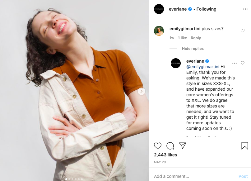 Everlane responding to customer questions about sizes on instagram