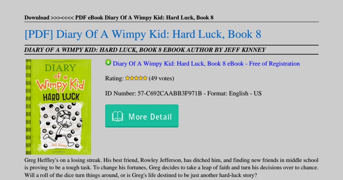 Diary Of A Wimpy Kid Hard Luck Book 8 Pdf Google Drive
