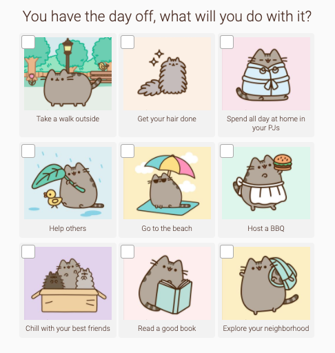 quiz question with cartoon cats in each answer choice