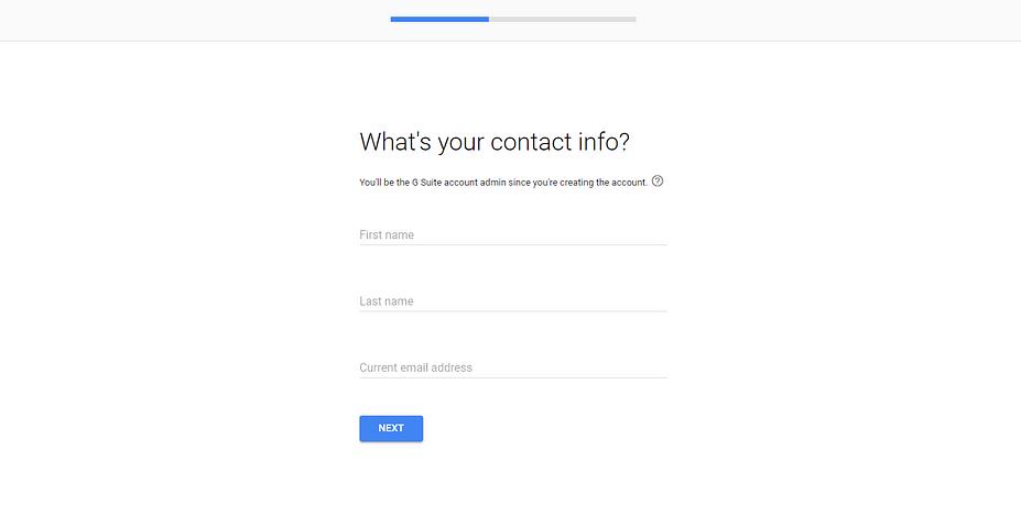 Trang thông tin liên hệ trong trình hướng dẫn thiết lập G Suite.