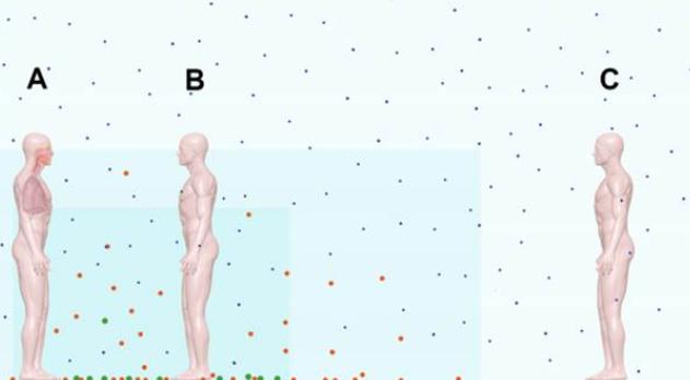 Em um terceiro período, a maioria das partículas já está no chão, porém as menores continuam em suspensão e agora contaminam distâncias maiores. Tanto a pessoa B, quanto a C tem perigo de contágio, Por isto, em ambientes fechados, mesmo com distanciamento, o uso de respiradores PFF2 são essenciais. Ventilação dos ambientes ajuda a mitigar este efeito sendo uma boa prática sanitária. Fonte: COMMENTARY: Ebola virus transmission via contact and aerosol — a new paradigm. Rachael M Jones, PhD, and Lisa M Brosseau, ScD