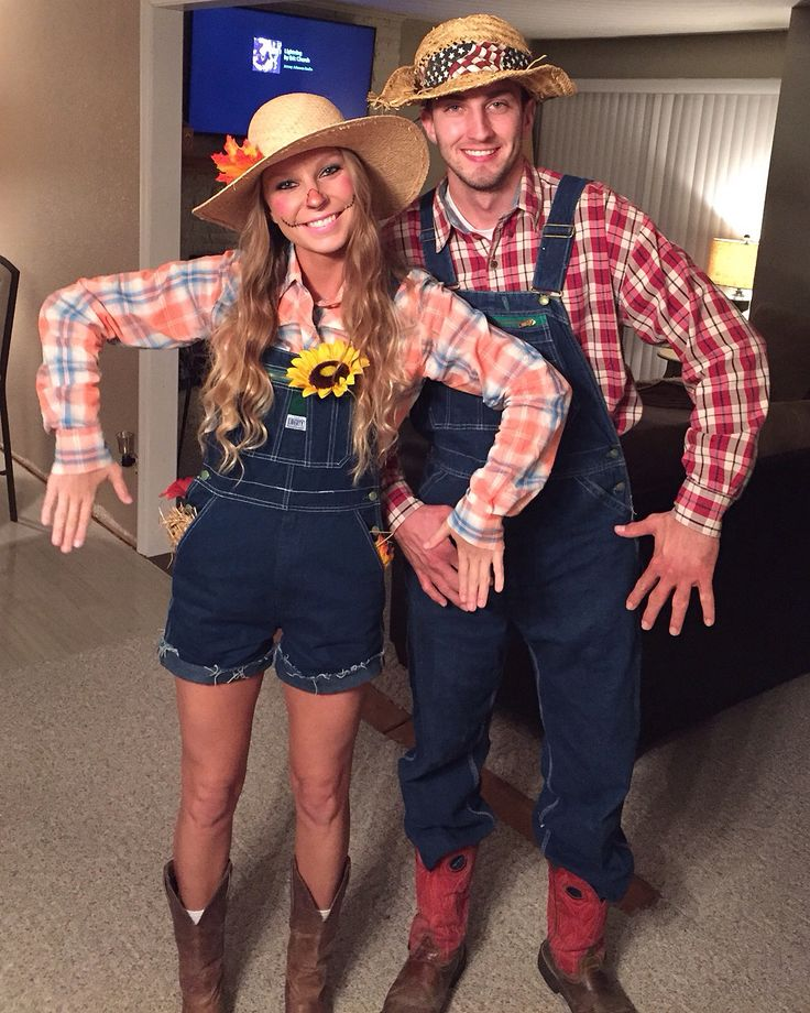 Two people in a DIY scarecrow Halloween costume