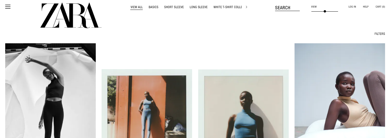 Screenshot of Zara's subcategories for t-shirts as an illustration of online visual merchandising.