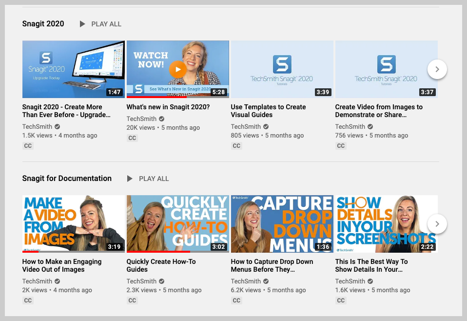Snagit YouTube homepage.