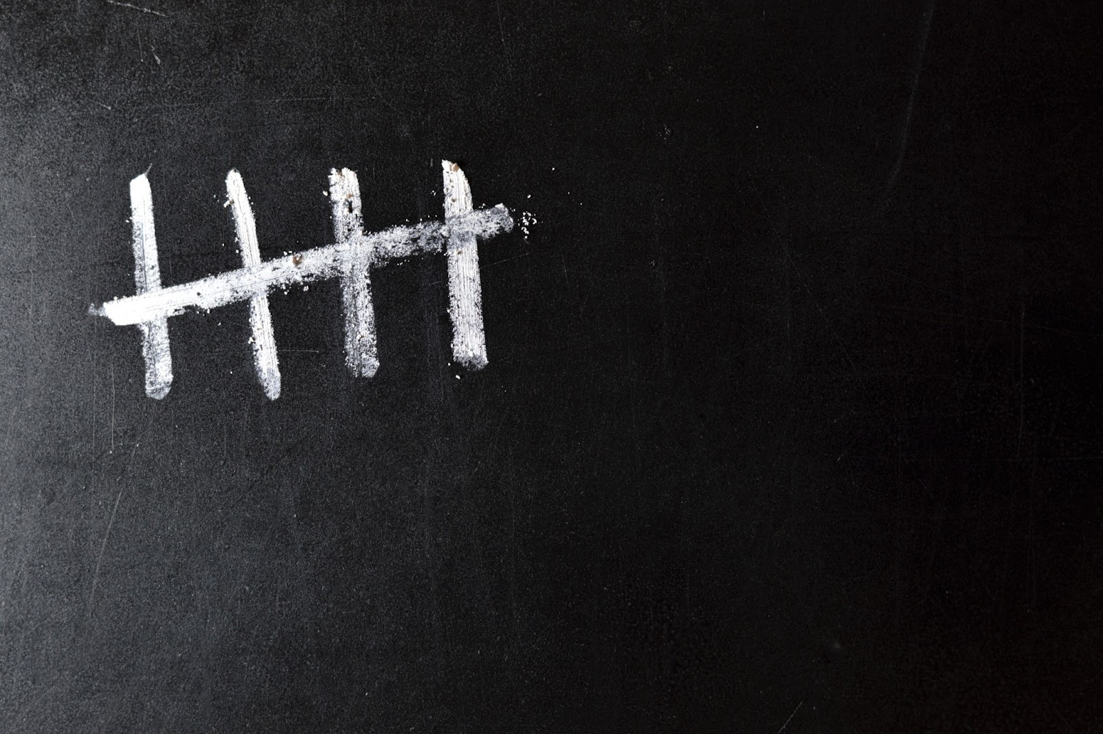 Chalk board with 5 tally marks