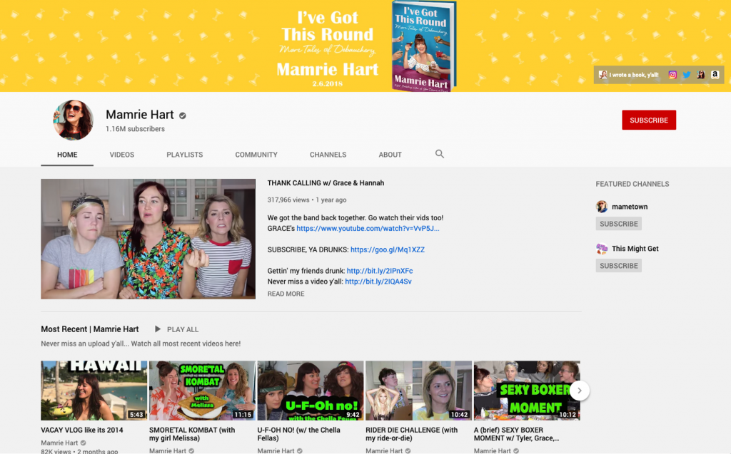 YouTube channel homepage for Mamrie Hart