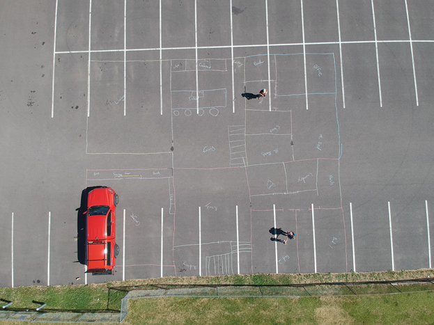 Life-Sized Floorplan in a parking lot