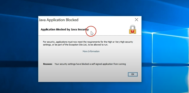 Windows 10 application blocked by Java Security
