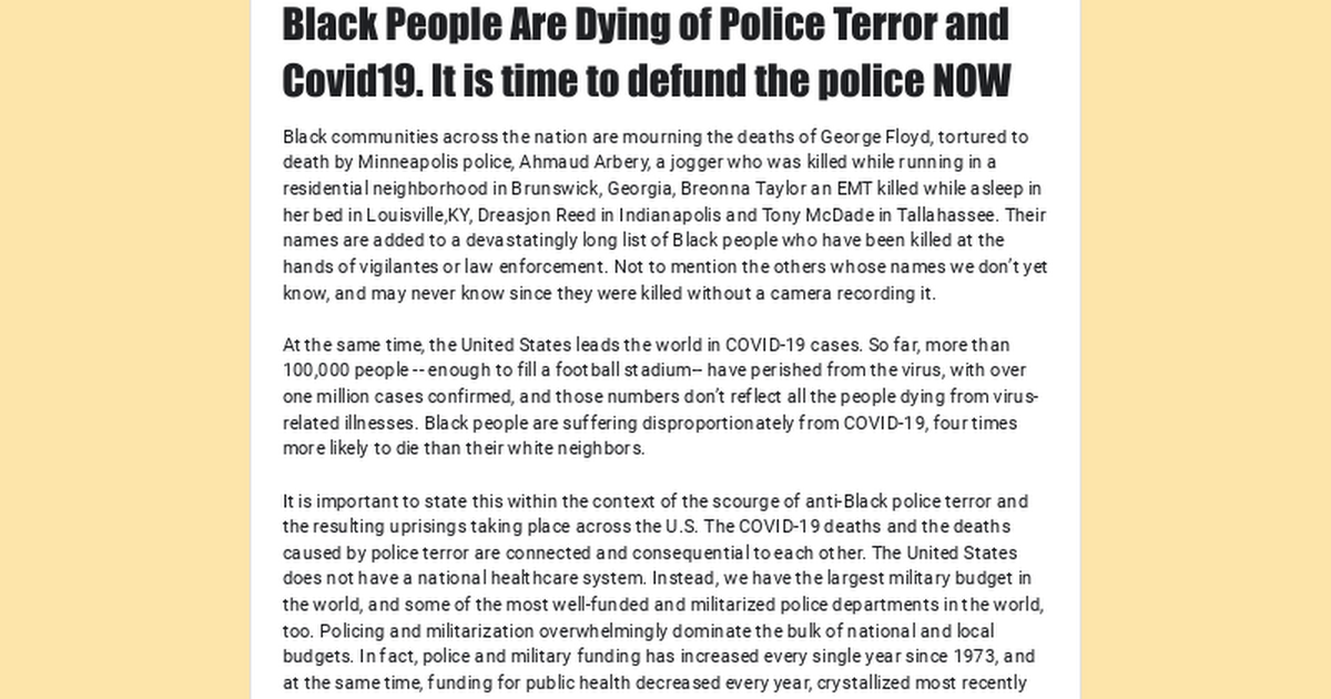 Black People Are Dying of Police Terror and Covid19. It is time to defund the police NOW