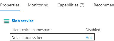 see the default access tier for an Azure Blob Storage account