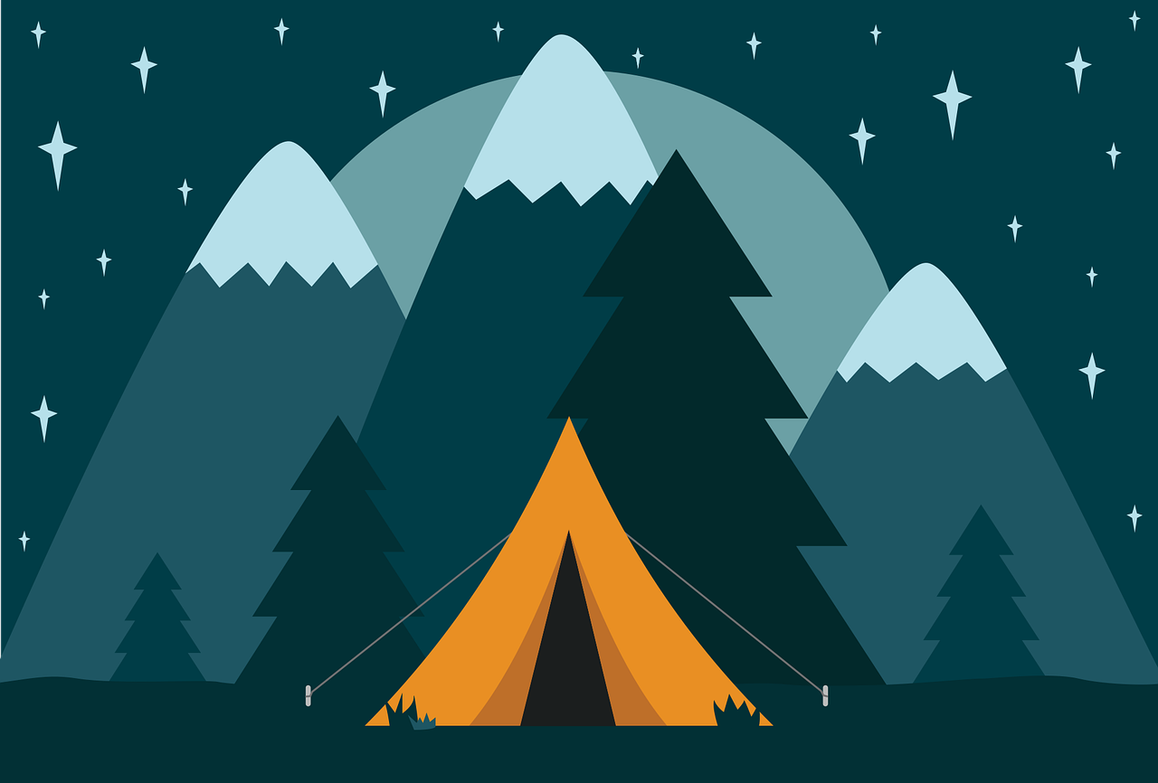 mountains with tent in front