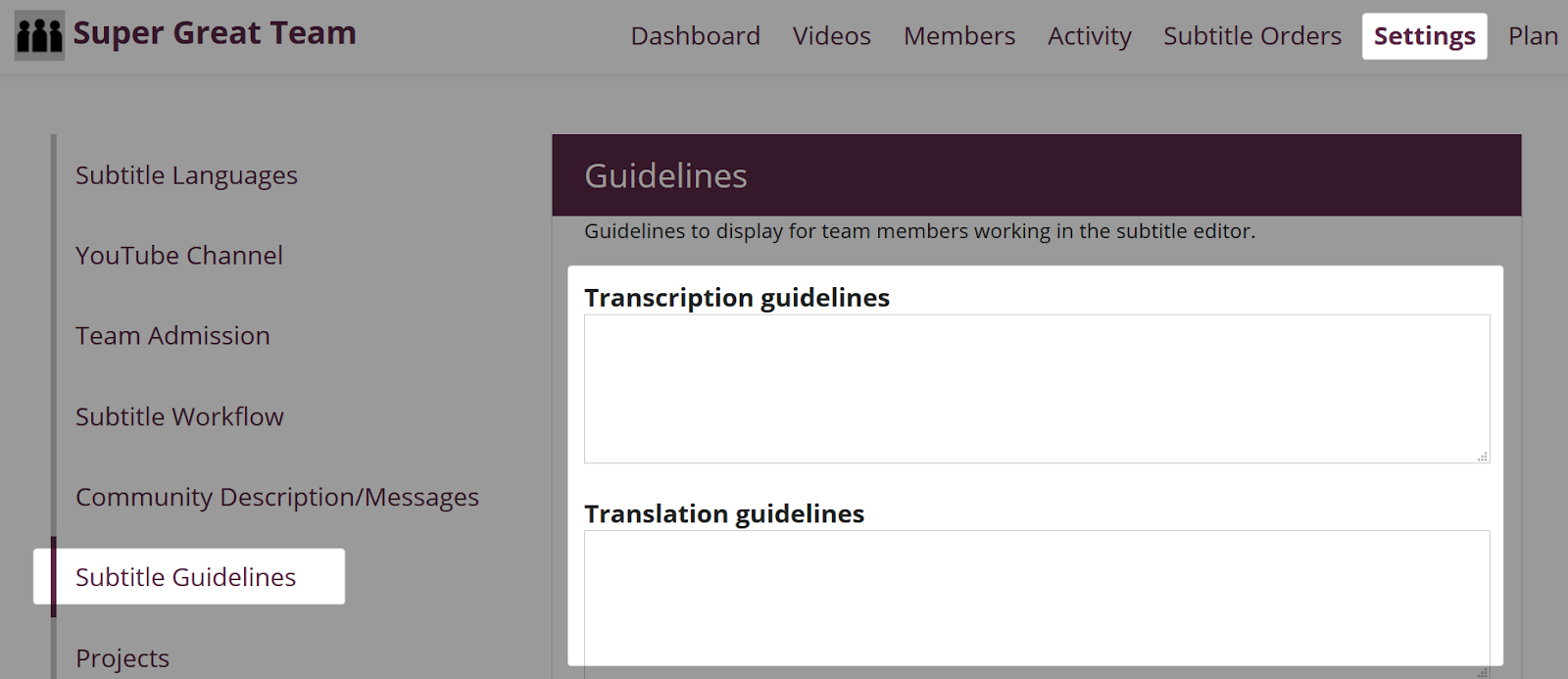 Subtitle Guidelines page in Settings for an Amara Community team.