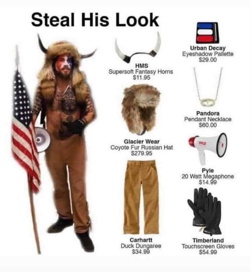 "Billedet indeholder sandsynligvis: 1 person, står og nærbillede, tekst, der siger ""Steal His Look = Urban Decay Eyeshadow Pallette $29 D0 HMS Supersoft Fantasy Horns $11.95 Pandora Pendant Necklace $60 00 Glacier Wear Coyote Fur Russian CyoteiHt Hat $279.95 PYLE Pyle 20 Watt Megaphone $14.99 Carhartt Duck Dungaree $34.99 Timberland Touchscreen Gloves $54.99"""