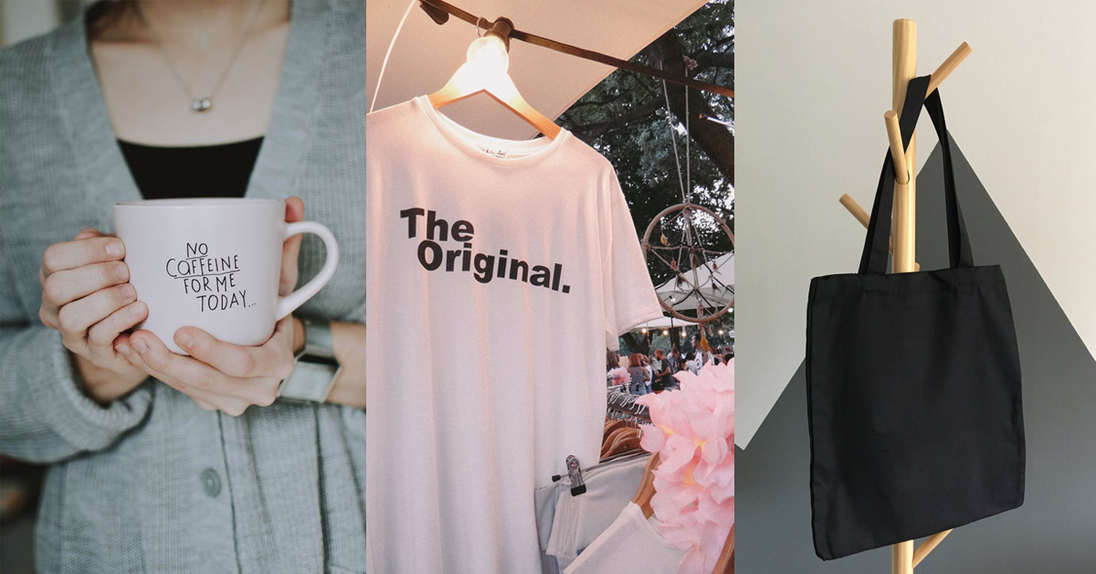 Collage of a woman holding a coffee mug, white t-shirt, and black tote bag.