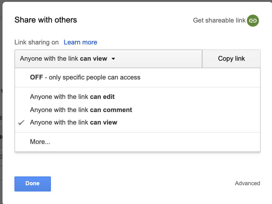 Share Google Doc link with others step 2
