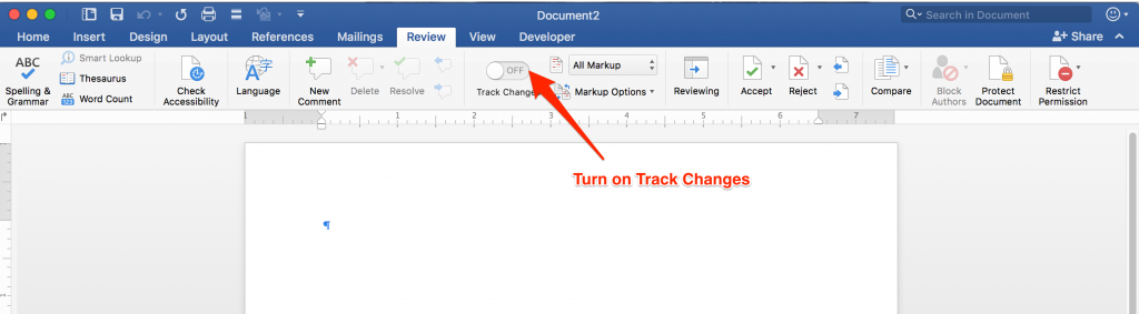 Turn on Track Changes in MS Word