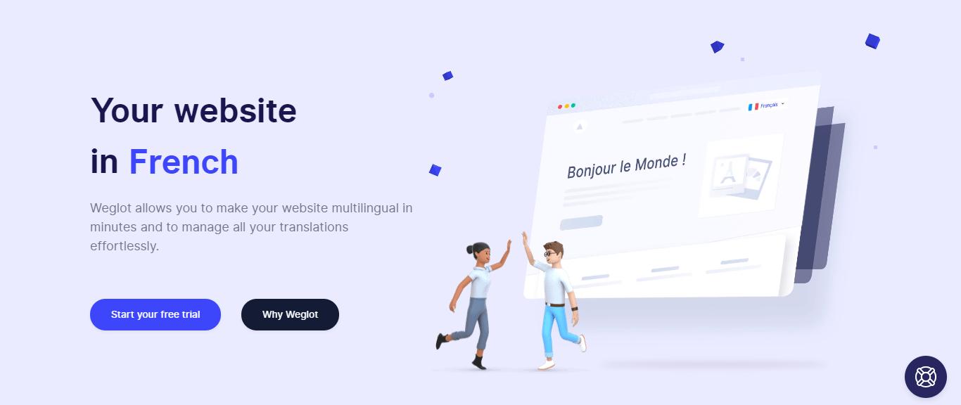 Display of Weglot Homepage