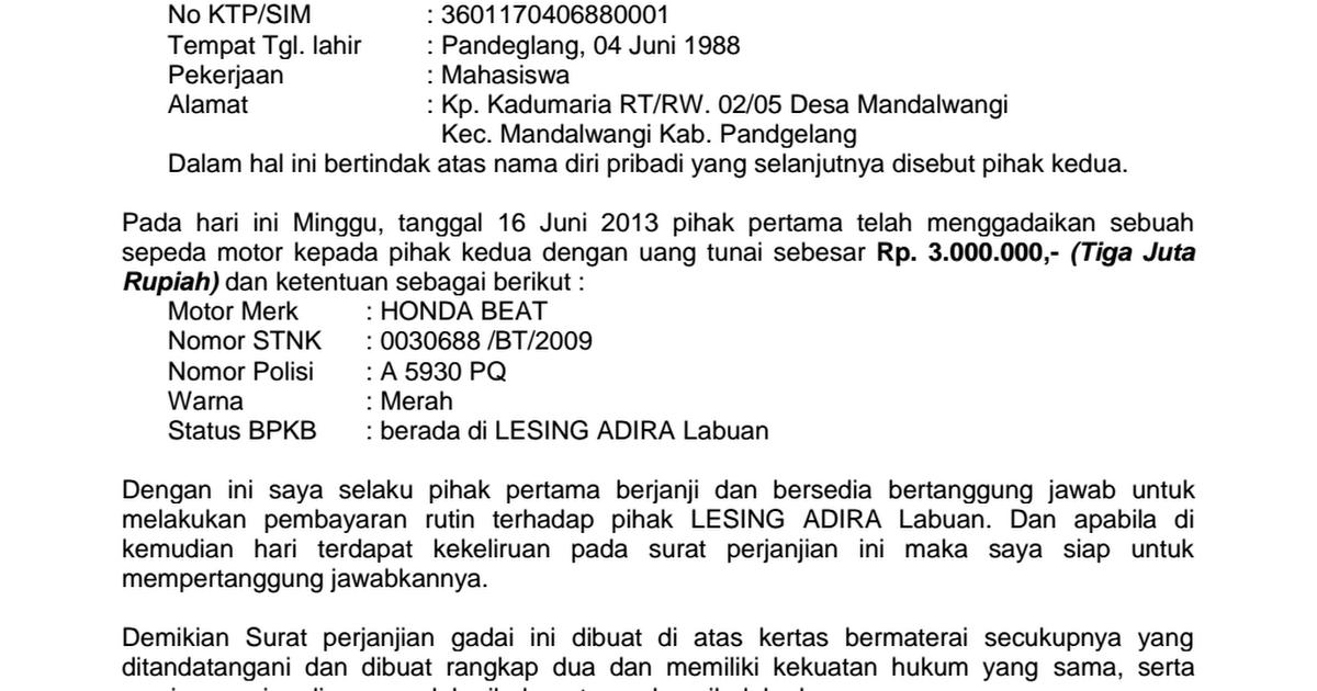 Contoh Surat Perjanjian Gadai Mobil Aneka Contoh