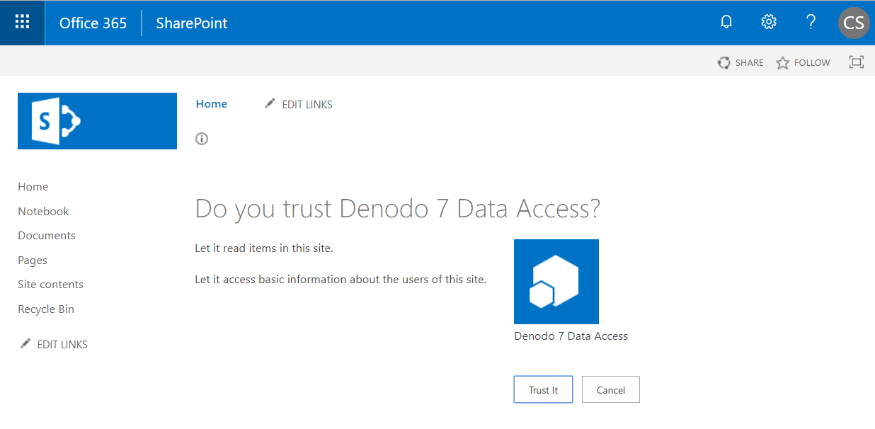 How to connect Denodo to Sharepoint Online using OData