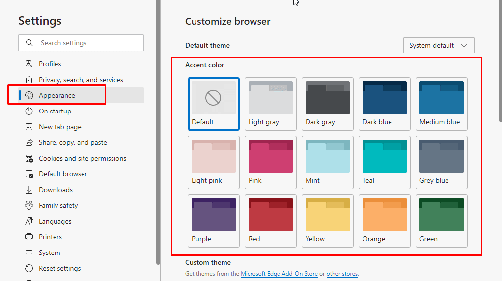 Enable Accent Color Theme in Microsoft Edge using Appearance Settings