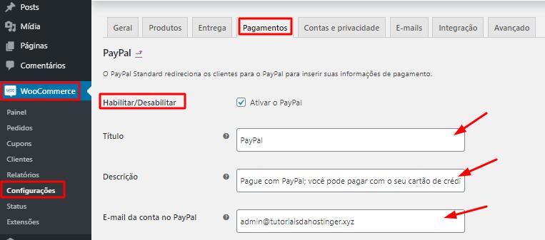 opção de habilitar pagamento online do PayPal pelo WordPress