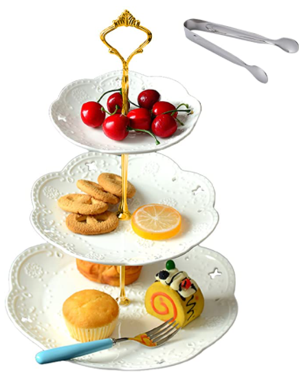white cake stand - how to host a tea party