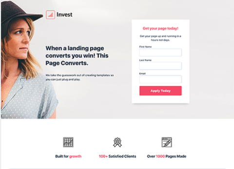 Invest Landing Page Template from Hubspot
