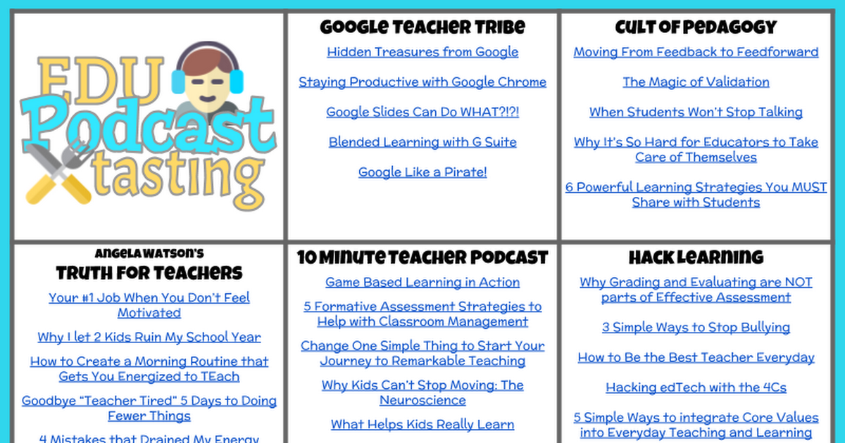 EDU Podcast Suggestion Menu - Google Drawings
