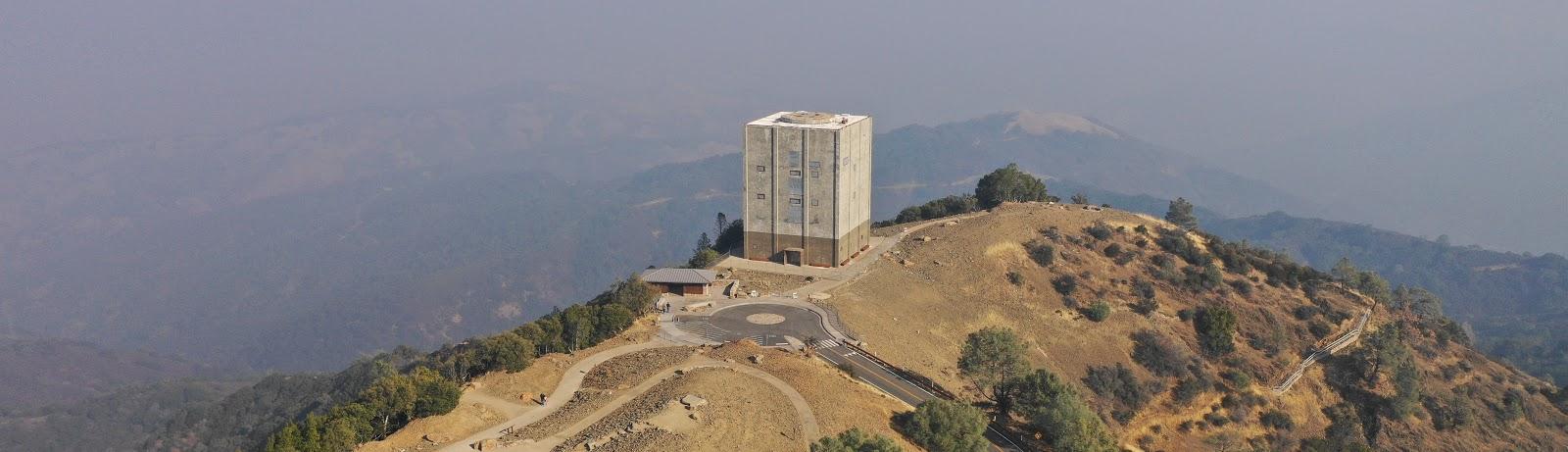 Drone photo of The Cube at top of Mt Umunhum Santa Clara County