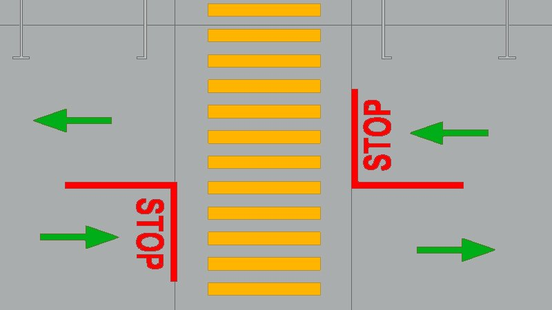 stop sign locations and traffic direction in a site plan