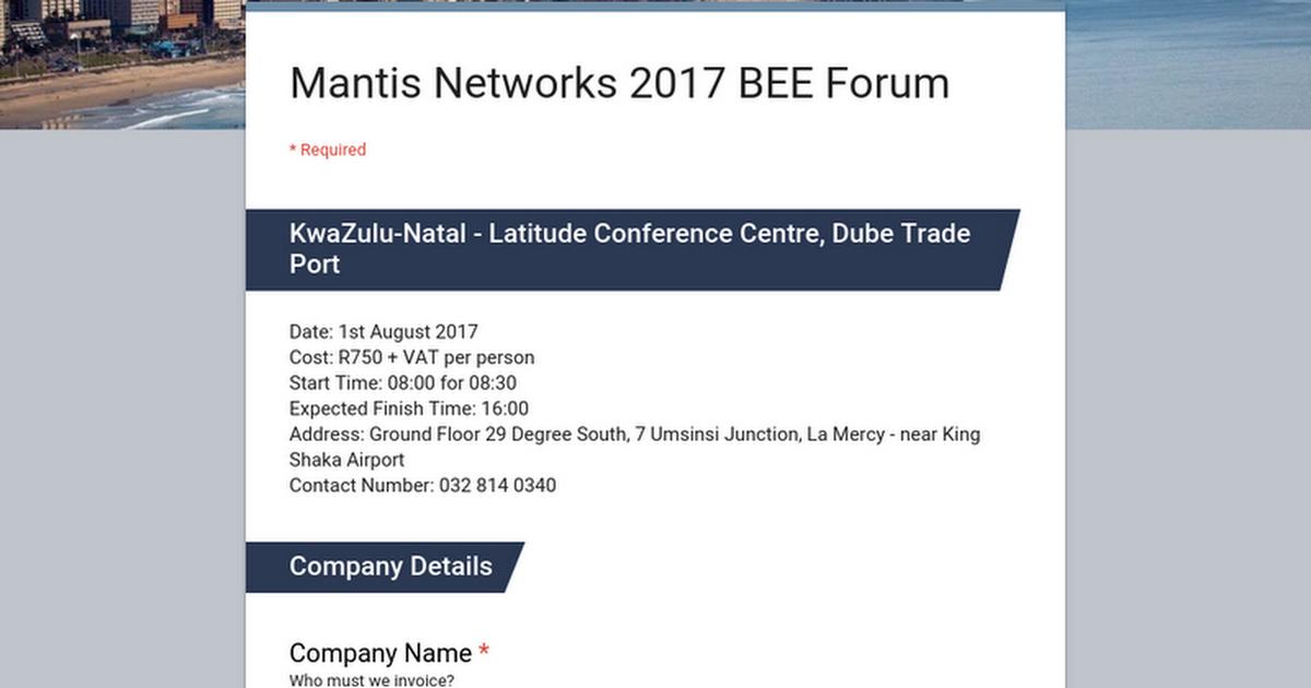 Mantis Networks BEE Forum - Invoice bee