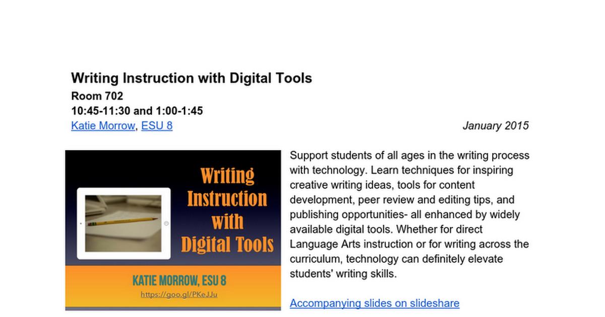 Writing Instruction With Digital Tools Google Docs