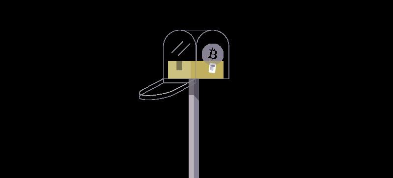 caixa de mensagens transparente com bitcoin dentro