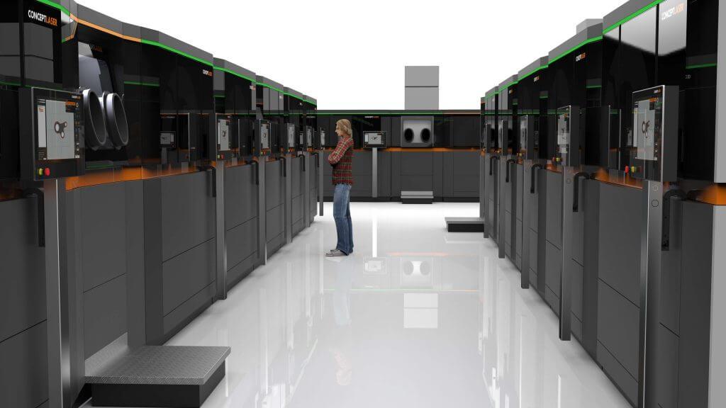 Многие manufaturers намечаете идею полностью автоматизированных заводов металлических 3D печати (изображение: Concept Laser)