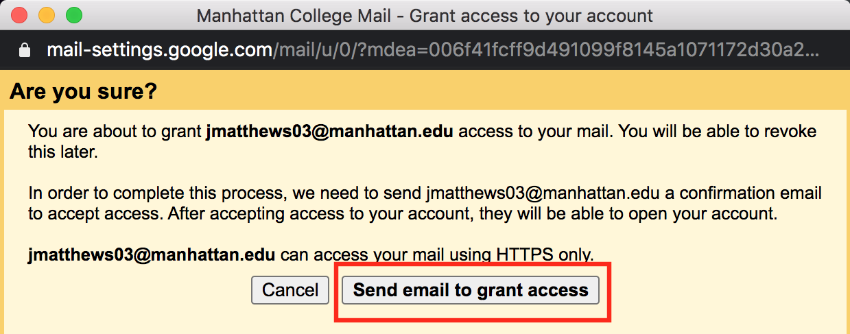 send email to grant access button