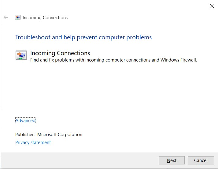 The Incoming Connections Troubleshooter window