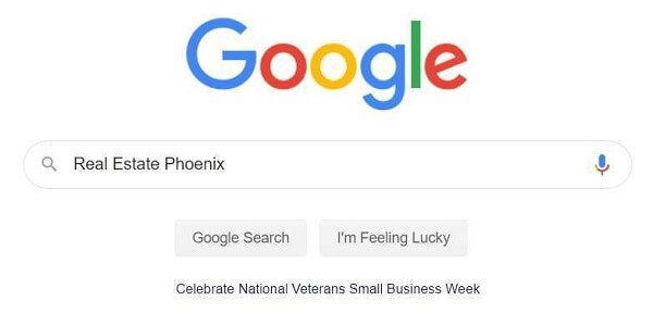 Google Search Bar-Real Estate Phoenix