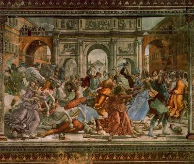 Otra escena pictórica clásica recreando la matanza de los inocentes.