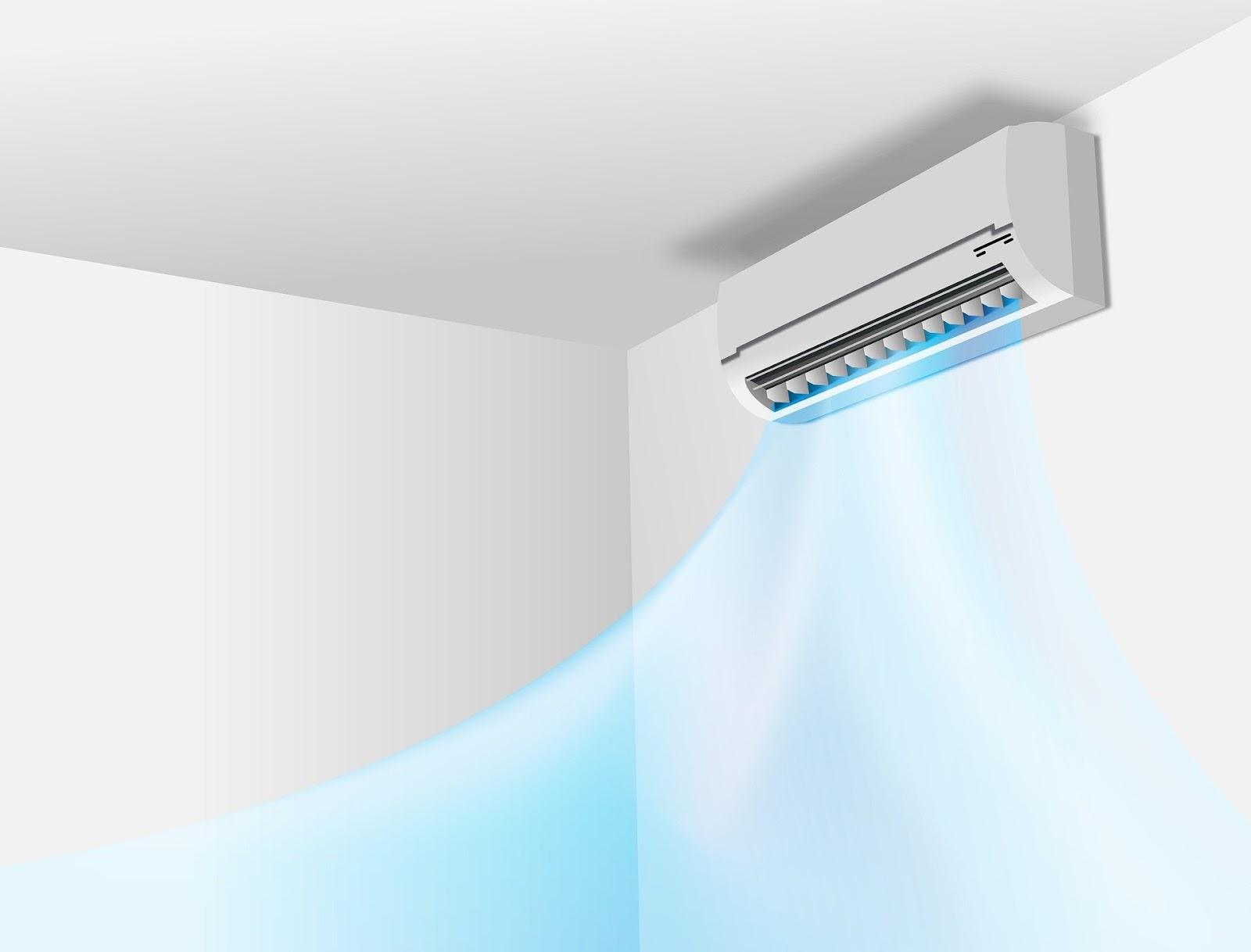 Um ar condicionado em uma parede.