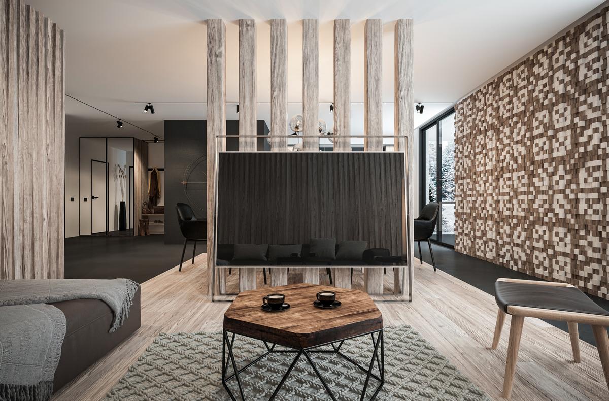 Vách ngăn gỗ thiết kế theo phong cách hiện đại