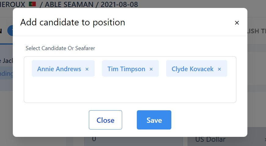 screenshot of the Martide website showing  the chose candidates