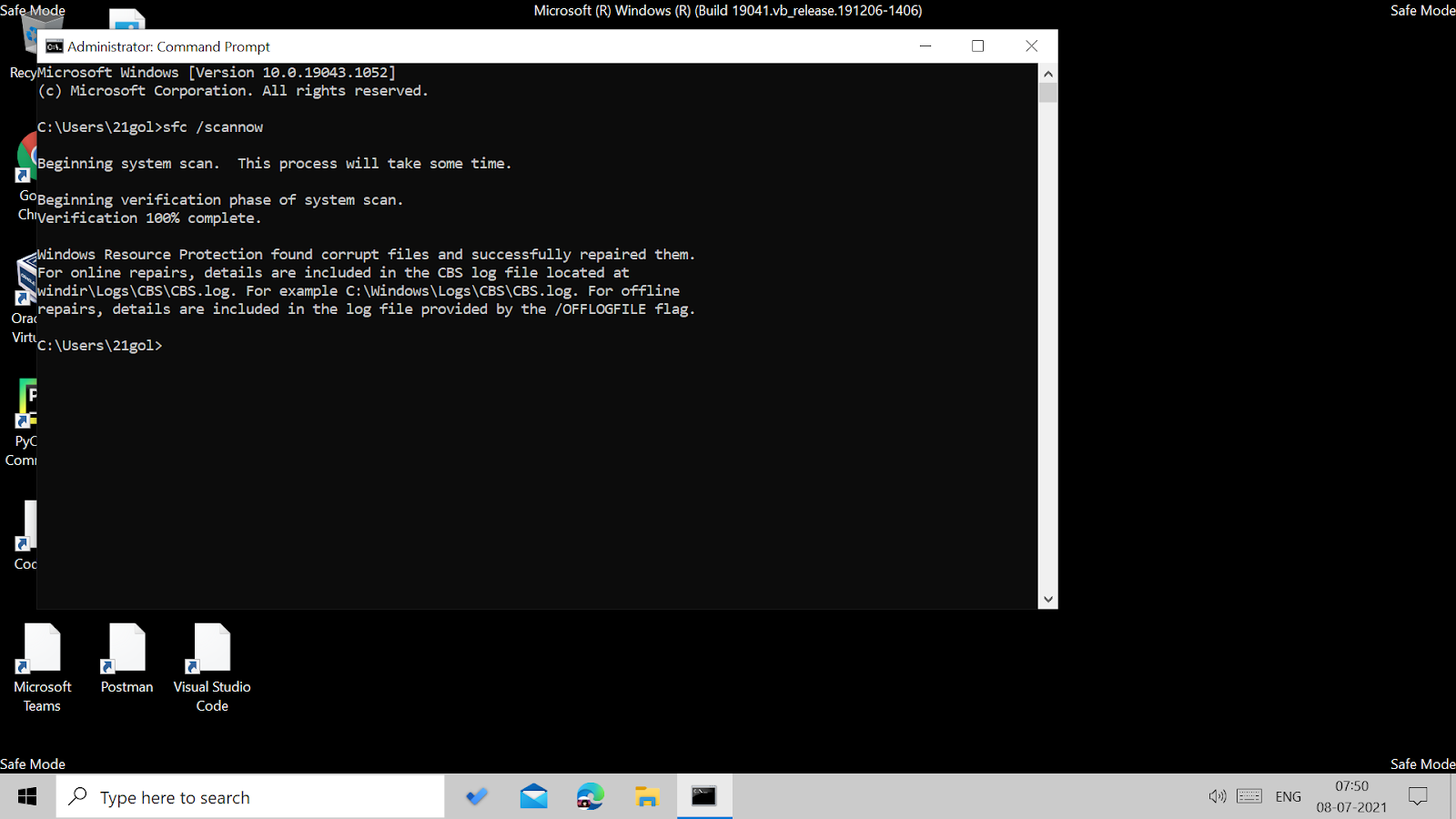 Running SFC scan in the command prompt